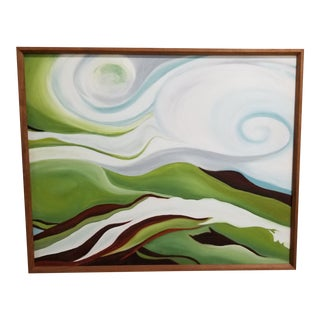 Vintage Mid 20th Century Abstract Landscape Painting For Sale