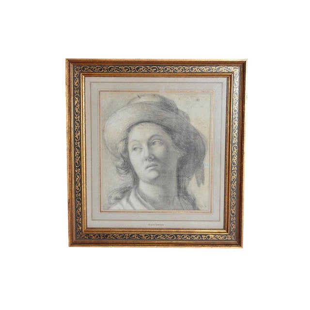 18th Century Charcoal Drawing of a Young Lady Wearing a Hat For Sale