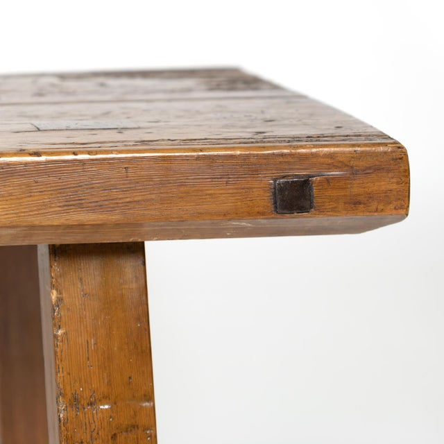 Rustic Elm Work Bench With Square Iron Pegs, English Circa 1880. For Sale - Image 12 of 13