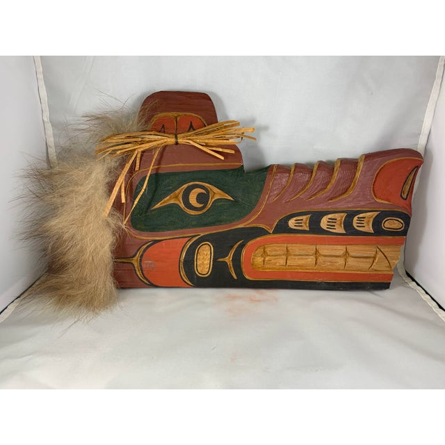 Late 20th Century Cecil Dawson Native Northwest Grizzly Bear Painted Wood Carving, Signed For Sale - Image 5 of 13