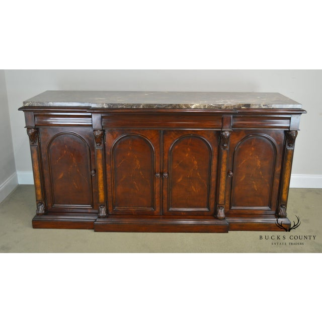 Traditional Henredon Mahogany Empire Style Marble Top Sideboard For Sale - Image 3 of 13
