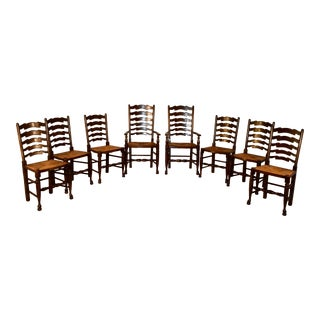Custom Set of Eight Ladder Back Chairs For Sale