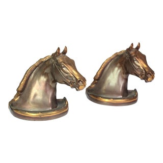 1940s Signed Bronze Equestrian Horse Bookends - a Pair For Sale