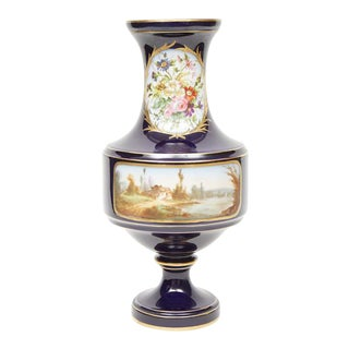 Sevres Style Hand Painted Porcelain Vase For Sale