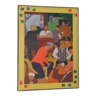 Vintage 1930s to 1940s Gambling Hall Oil Painting Style of Moon Mullins Comic Strip For Sale