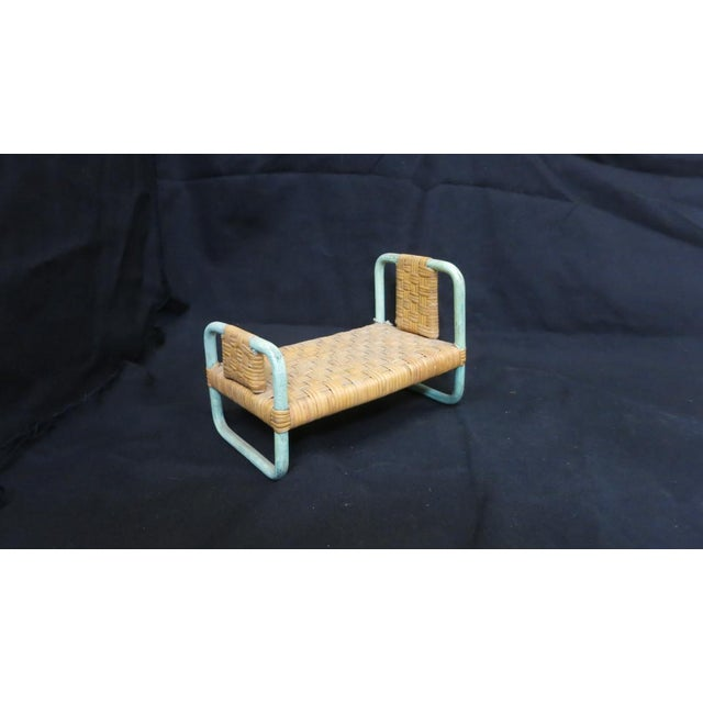 Boho Chic 1930s - 1940s Paul Frankl Salesman Sample Miniature Rattan Furniture - 3 Pc. Set For Sale - Image 3 of 8