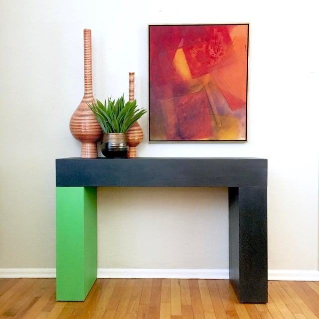 Modern Color Blocked Console Table For Sale - Image 4 of 7