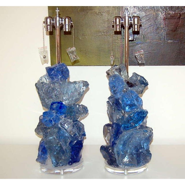 Contemporary Glass Rock Table Lamps by Swank Lighting Blue Crystal - a Pair For Sale - Image 3 of 10