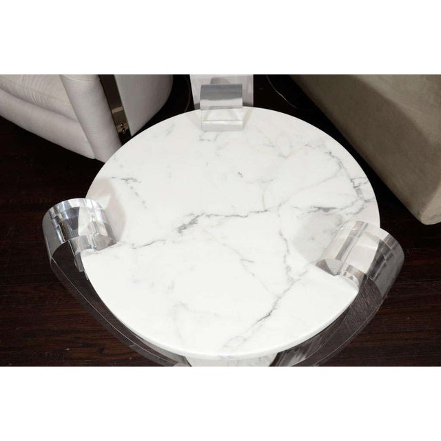 Pair of Lucite and Hoaned Marble Side Tables For Sale - Image 4 of 7