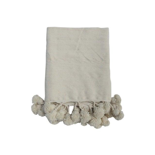 Café Au Lait' Moroccan Pom Blanket For Sale