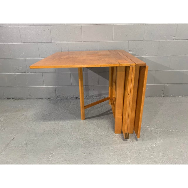 1930s Flamed Birch Maria Folding Dining Table by Bruno Mathsson for Karl Mathsson For Sale - Image 5 of 13