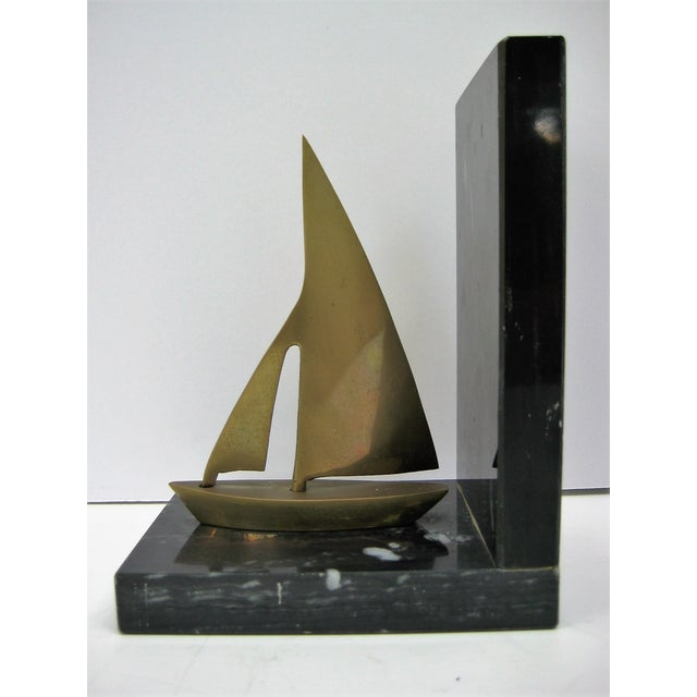 Mid-Century Brass Sailboat Bookends - Pair - Image 4 of 9