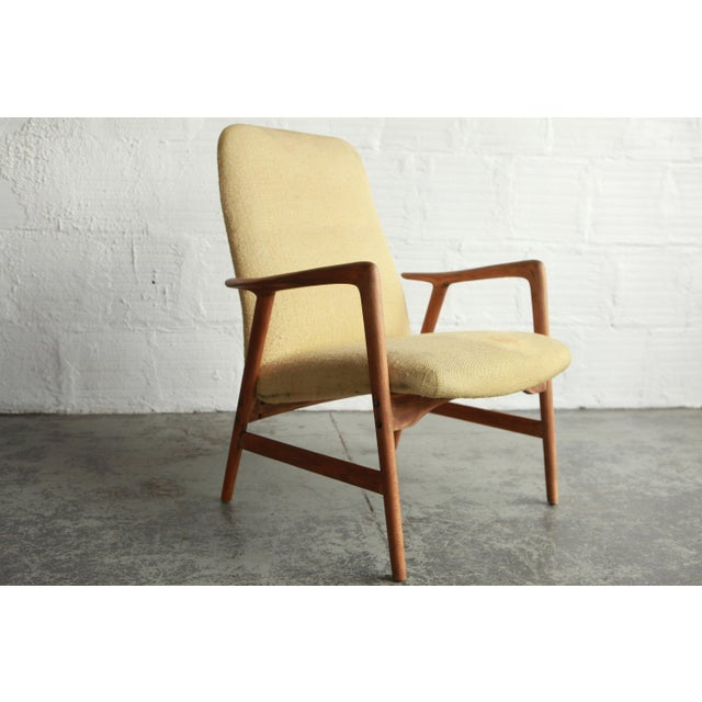 Wood Vintage Mid Century Alf Svensson Highback Lounge Chairs- A Pair For Sale - Image 7 of 8