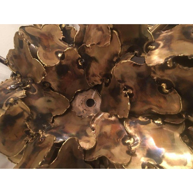 Gold Tom Greene for Feldman Brutalist Torch Cut Wall Light Sconce For Sale - Image 8 of 11