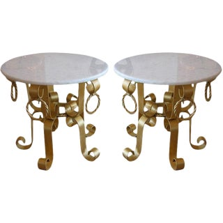 Pair of Vintage Italian Gold Leaf Iron and Marble Top End / Side Tables For Sale