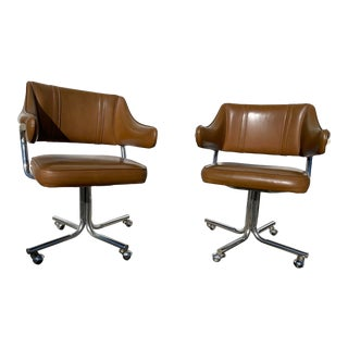 Mid Century Chrome and Leather Douglas Swivel Office Chairs - a Pair For Sale