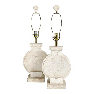 1980s Stone Table Lamps - a Pair For Sale