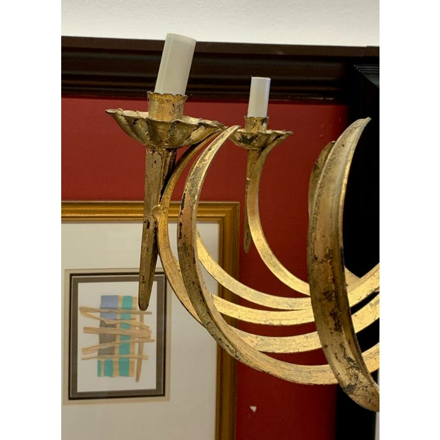 Mid 20th Century Vintage Grass Blade Gold Mid Century Italian Gilt Chandelier For Sale - Image 5 of 11