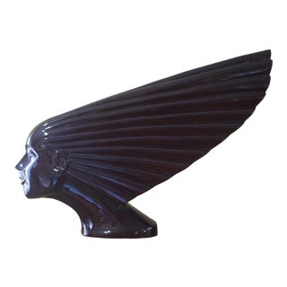 """1940s Victoire """"Spirit of the Wind"""" Art Deco Solid Wood Sculpture For Sale"""