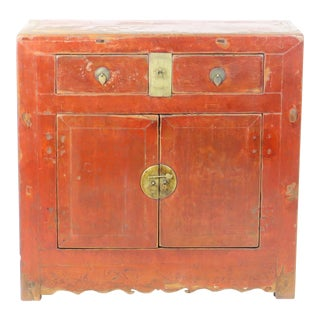 Antique Chinese Rustic 2 Door Red Lacquer Cabinet For Sale