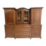Image of Antique French Carved Tiger Oak China Cabinet For Sale