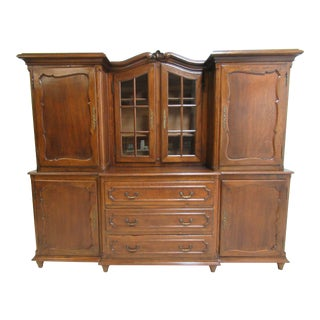 Antique French Carved Tiger Oak China Cabinet For Sale