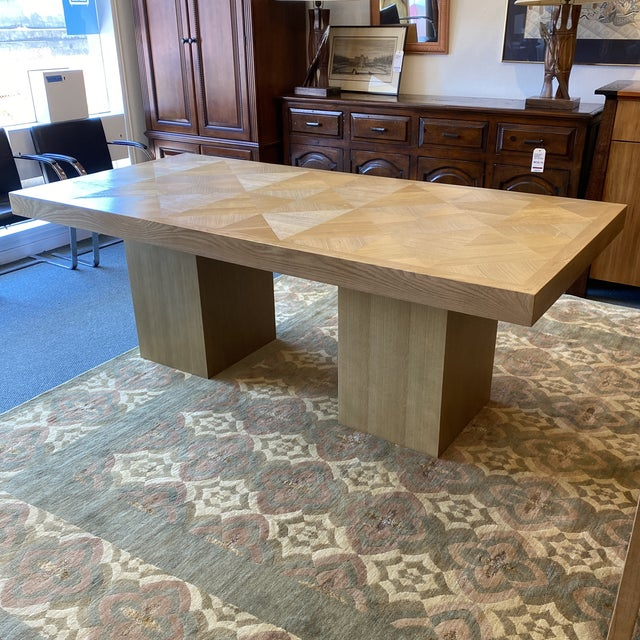 Modern Custom Modern Oak Inlay Dining Table For Sale - Image 3 of 13