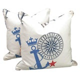 Image of New Nautical Ralph Lauren Pillows With Down Fill- a Pair For Sale