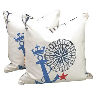 New Nautical Ralph Lauren Pillows With Down Fill- a Pair For Sale
