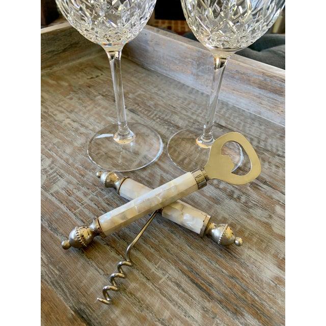 Metal Vintage Mother of Pearl Corkscrew Wine & Bottle Opener Set For Sale - Image 7 of 8