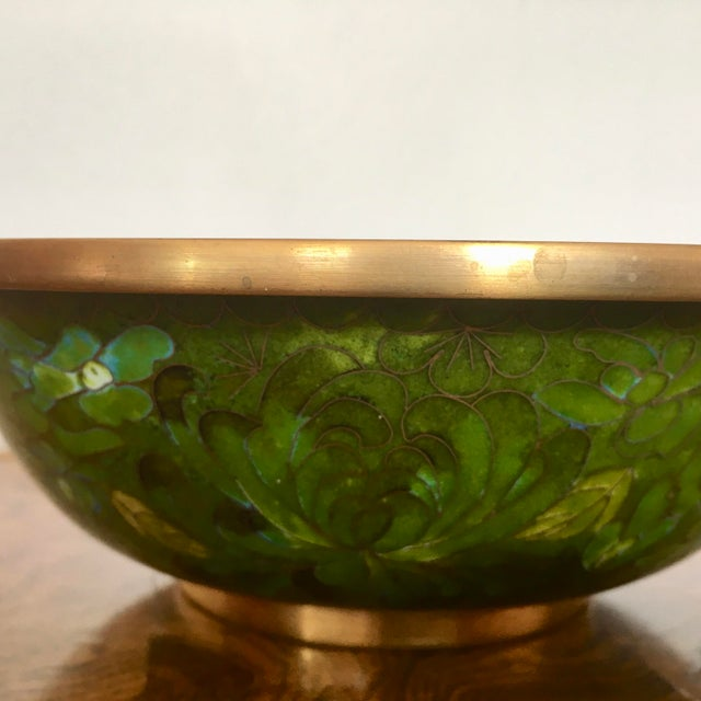 Fabulous floral cloisonne & brass bowl in vibrant green tones with blue underside.