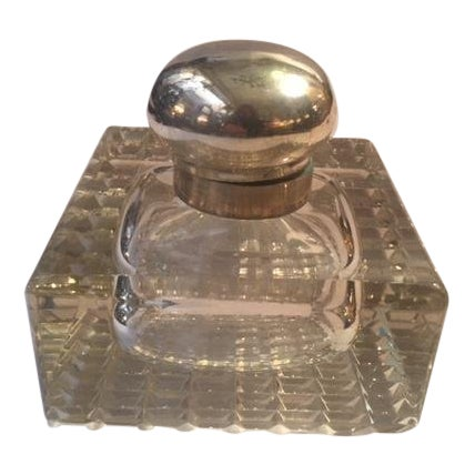 1900s English Inkwell With Sterling Mounts For Sale