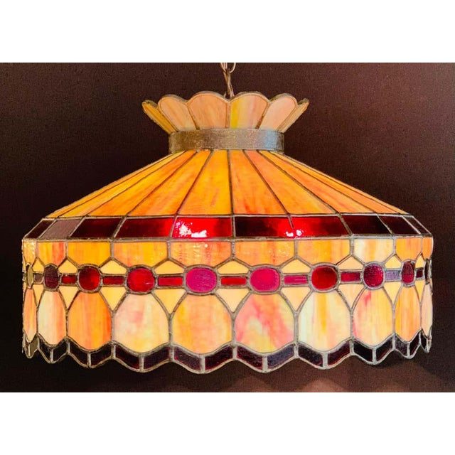 Art Nouveau Mid 20th Century Tiffany Style Leaded Glass & Patinated Bronze Pendant or Chandelier For Sale - Image 3 of 12