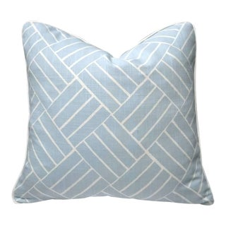 Blue and White Geometric Pillow in Linen Blend and a White Canvas Back For Sale