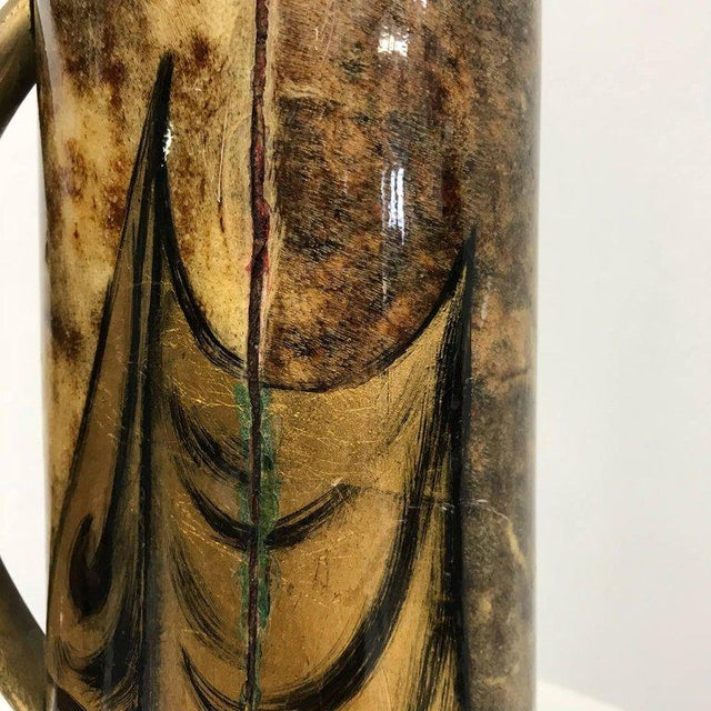 Metal 1950s Hand-Painted Pitcher by Aldo Tura Macabo Cusano For Sale - Image 7 of 10