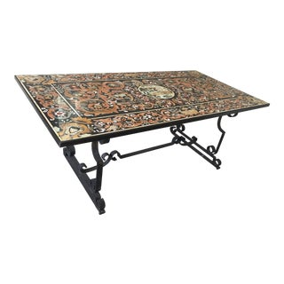 Vintage Indoor/Outdoor Tibetan Handmade Marble Mosaic Table