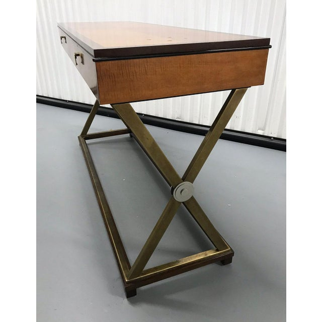 1990s Vintage Hickory-White Burl and Brass Console For Sale - Image 5 of 12