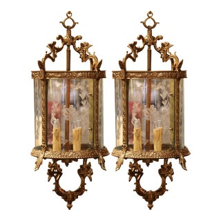19th Century French Louis XV Bronze and Etched Glass Four-Light Lanterns-a Pair For Sale