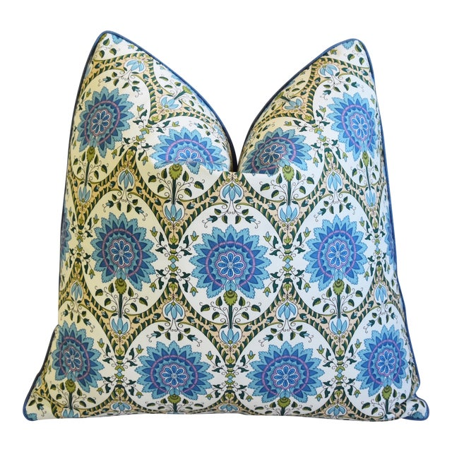 """French Pierre Frey Taj Mahal Floral Botanical Feather/Down Pillow 19"""" Square For Sale"""