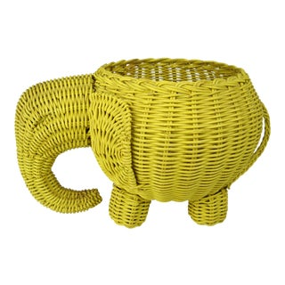 Mid-Century Yellow Wicker Elephant Basket