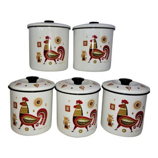 1960s Mid-Century Modern Georges Briard Enamelware Canister Set - 5 Pieces