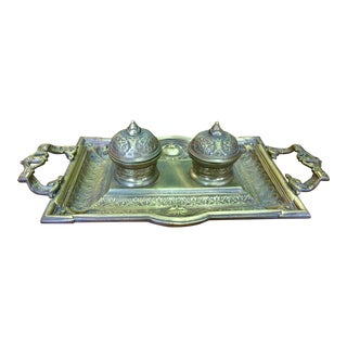 19th Century Antique Brass Double Inkwell For Sale