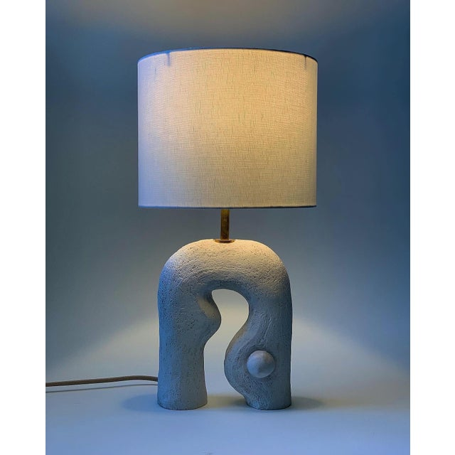"""Contemporary Handmade """"It's My Show Here"""" Matte White Lamp With Oyster Shade by Analuisa Corrigan For Sale - Image 3 of 5"""