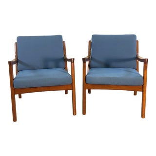 Ole Wanscher for France & Sons Denmark Senator Easy Chairs, Pair For Sale
