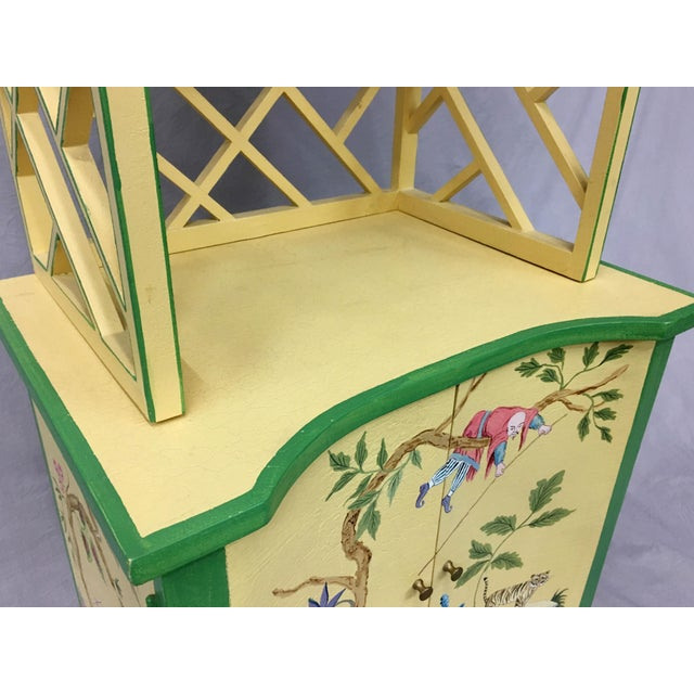 Yellow Chinese Style Painted Shelf For Sale - Image 8 of 11