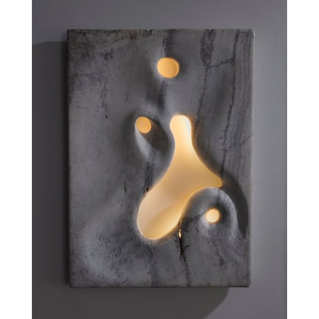 2010s Unique Wall-Mounted Illuminated Sculpture in Hand-Carved White Travertine. For Sale - Image 5 of 5