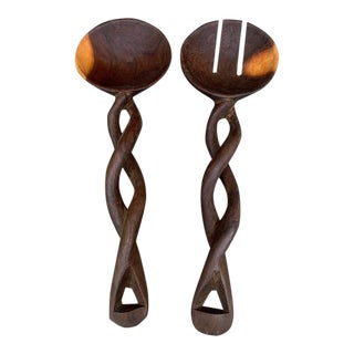 Wooden Twisted Handle Salad Spoon/Fork - Pair For Sale