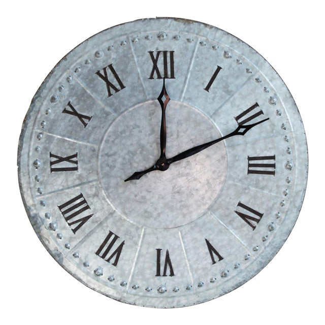 Industrial Galvanized Wall Clock - Image 1 of 4