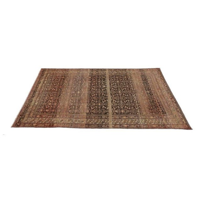 Industrial Antique Persian Malayer Rug with Modern Design and Industrial Aesthetic For Sale - Image 3 of 7