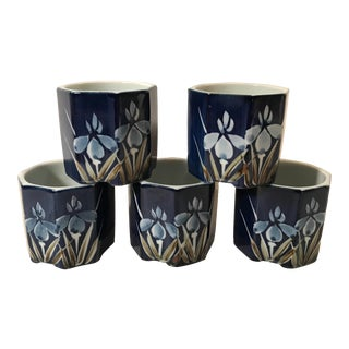Vintage Hand Painted Petite Herb Planters - Set of 5 For Sale
